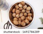 Walnuts In A Chromed Bucket On...