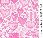 seamless pattern with hearts ... | Shutterstock . vector #169282244