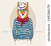 Hand Drawn  fashion illustration of Fox Hipster in colors - stock vector