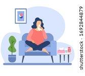 sneezing woman concept vector...   Shutterstock .eps vector #1692844879