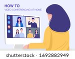 video conferencing at home ... | Shutterstock .eps vector #1692882949