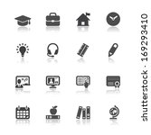 education icons with white