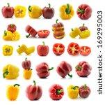 set of a fresh juicy peppers... | Shutterstock . vector #169295003
