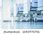 Small photo of Blurred hospital images, Patient bed in the hospital, Hospital cleaning, Hospital disinfection cleaning, Patient bed cleaning for emergency patients.