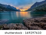sunset at st. mary lake ... | Shutterstock . vector #169297610