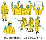 hazmat suits vector character...   Shutterstock .eps vector #1693017646