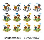 cartoon character set isometric ... | Shutterstock .eps vector #169304069