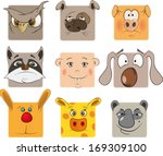 animal icons cartoon | Shutterstock .eps vector #169309100