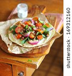 flat bread with chard  tomatoes ...