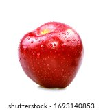 Red Apple In Drops Of Water On...