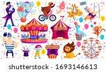 vintage circus show flat vector ... | Shutterstock .eps vector #1693146613