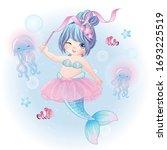 hand drawn cute mermaid...   Shutterstock .eps vector #1693225519