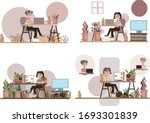 work form home office modern...   Shutterstock .eps vector #1693301839