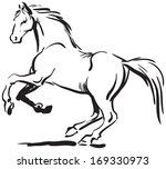 Stock vector black and white sketch of horse 169330973