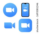 blue camera icon   live media... | Shutterstock .eps vector #1693381246