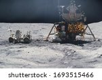 astronaut on rock surface with...   Shutterstock . vector #1693515466