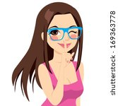 beautiful brunette girl winking ... | Shutterstock .eps vector #169363778