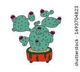 big flowering green cactus... | Shutterstock .eps vector #1693704823
