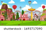themepark scene with many rides ... | Shutterstock .eps vector #1693717090