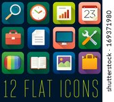 set of 12 flat icons   1