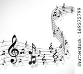 Music Notes On A Solide White...