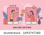 man and woman are dating with... | Shutterstock .eps vector #1693747180