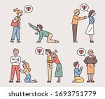 breaking up couples   ask for...   Shutterstock .eps vector #1693751779