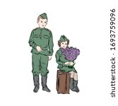 hand drawn children in military ... | Shutterstock .eps vector #1693759096