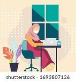 hijab women working on laptop...   Shutterstock .eps vector #1693807126