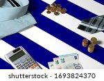 Greece Flag On Minimal Money...