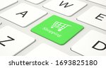 Shopping Cart Icon On Green...