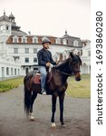 Horse theme. businessman with a ...
