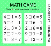 math game. write   or   in... | Shutterstock .eps vector #1693864999