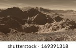 Stony Martian highlands with far dust haze  - stock photo