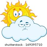 happy sun smiling behind a sad... | Shutterstock .eps vector #169395710