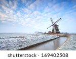 Dutch Windmill In Winter Over...