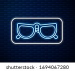 glowing neon line glasses icon...