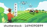 smart farming. growing crops... | Shutterstock .eps vector #1694090899