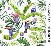 watercolor tropical pattern... | Shutterstock . vector #1694099446
