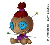 voodoo doll colorful vector...