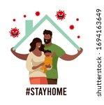 a black family in self... | Shutterstock .eps vector #1694163649