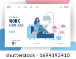 website landing page. happy... | Shutterstock .eps vector #1694192410