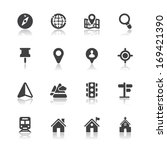 map and location icons with... | Shutterstock .eps vector #169421390