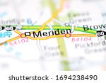 Meriden on a geographical map of UK