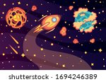 outer space vector. flat style... | Shutterstock .eps vector #1694246389