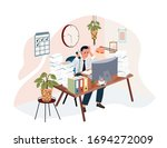 exhausted  frustrated worker ...   Shutterstock .eps vector #1694272009