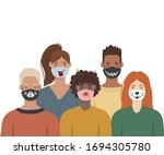 people wearing funny medical... | Shutterstock .eps vector #1694305780