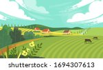 Rural landscape with field, trees, grass and cows. Ecologically clean area with blue sky and clouds. Village in the summer. Vector stock flat style illustration or background for eco products, banner.