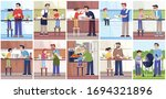 cooking fathers and children ... | Shutterstock .eps vector #1694321896