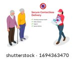 isometric delivery woman or... | Shutterstock .eps vector #1694363470